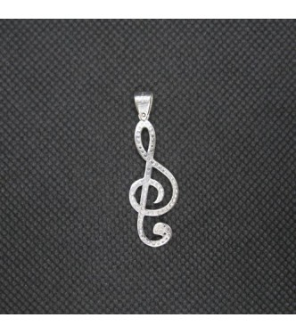 PE001494 Sterling Silver Pendant Charm Treble Clef Solid Genuine Hallmarked 925