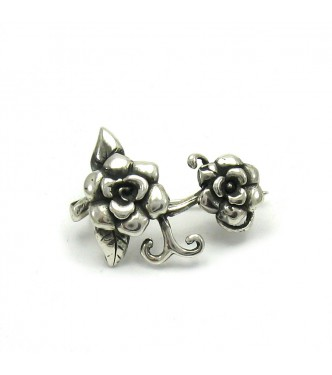 A000026 Sterling Silver Brooch Solid 925 Flower