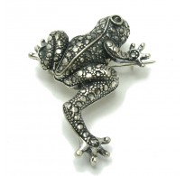 A000027 Stylish Sterling Silver Brooch Frog 925