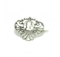 A000028 Stylish Sterling Silver Brooch Mother of God 925