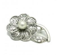 A000036 Stylish Sterling Silver Brooch Flower Pearl 925