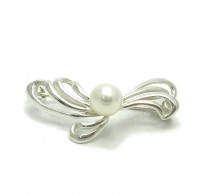 A000037 Stylish Sterling Silver Brooch Flower Pearl 925