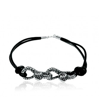 B000140 Sterling Silver Bracelet Solid 925 Two Snakes Natural leather