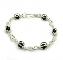B000149 Stylish Sterling Silver Bracelet Solid 925 Eternity 6mm Onyx