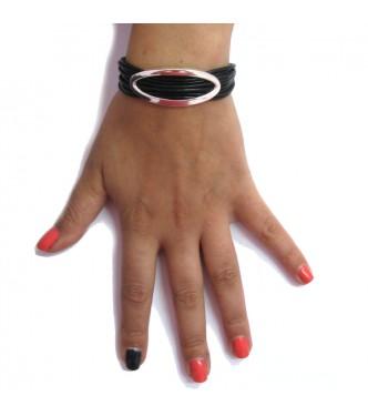 B000152 Sterling Silver Bracelet Solid 925 Ellipse Natural leather