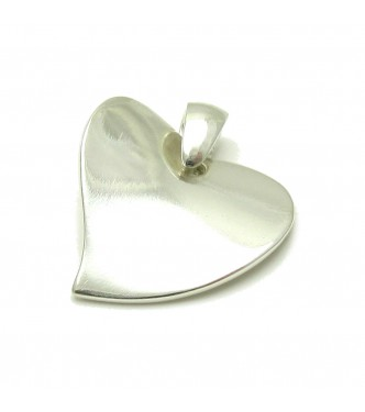 PE000016 Stylish Sterling Silver Pendant Solid 925 Heart