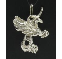 PE000021 STERLING SILVER PENDANT UNICORN HORSE 925 NEW 3D