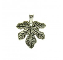 PE000105 Sterling Silver Pendant Solid 925 Maple Leaf