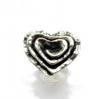 R000021 Stylish STERLING SILVER Ring Solid 925 Rose Heart Ring