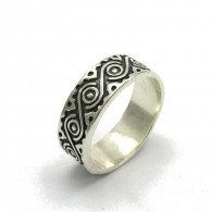 R000023 Stylish STERLING SILVER Ring Solid 925 Stylized Eye Band