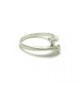 R000352 Sterling Silver Ring Genuine Stamped Solid 925 With 2 Cubic Zirconia Empress