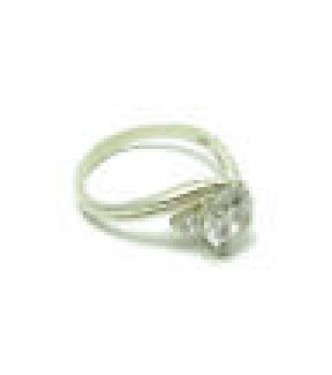 R000361 Genuine Sterling Silver Ring Stamped Solid 925 With 8mm Cubic Zirconia Handmade