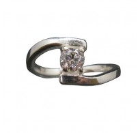 R002027 Genuine Sterling Silver Solitaire Ring Solid Hallmarked 925 4.5mm Cubic Zirconia
