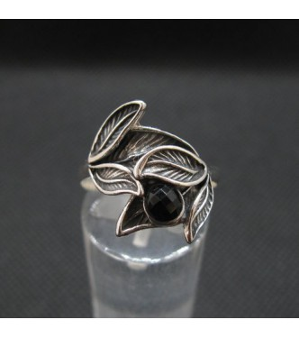 R002132O Handmade Sterling Silver Floral Ring With Black Onyx Genuine Solid Stamped 925