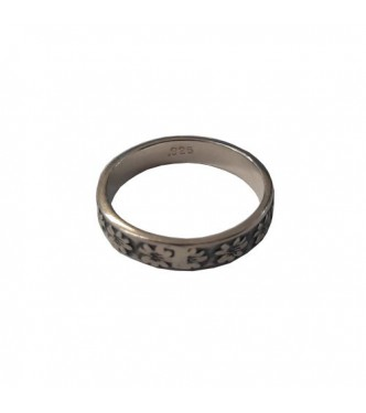 R002183 Handmade Sterling Silver Ring 4mm Band Flower Genuine Solid Stamped 925