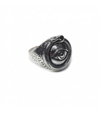 R002203 Handmade Sterling Silver Ring Eye Uroboros Snake Genuine Solid Hallmarked 925