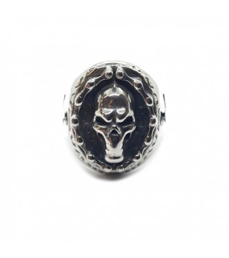 R002225 Big Genuine Sterling Silver Biker Ring Skull Solid Hallmarked 925 Handmade