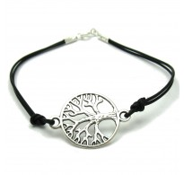 B000178 STERLING SILVER BRACELET TREE OF LIFE SOLID 925 WITH BLACK LEATHER
