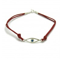 B000184R Sterling silver bracelet blue eye Solid 925 with red string