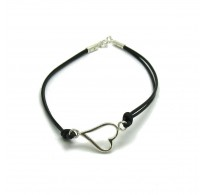 B000185 Sterling silver bracelet solid 925 heart with leather EMPRESS
