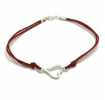 B000185R Sterling Silver Bracelet Solid 925 Heart with red string EMPRESS
