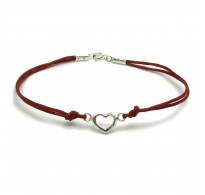 B000186R Sterling Silver Bracelet Solid 925 Heart with red string EMPRESS