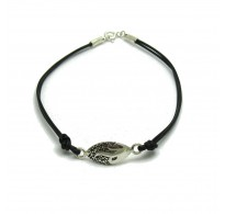 B000187 Sterling Silver Bracelet Solid 925  with natural leather EMPRESS