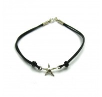 B000188 Sterling Silver Bracelet Solid 925 star with natural leather EMPRESS