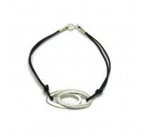 B000189 Sterling Silver Bracelet Solid 925 ellipses with natural leather EMPRESS