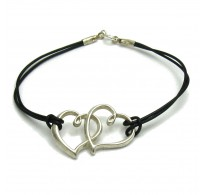 B000190 Sterling Silver Bracelet Solid 925 two hearts with natural leather EMPRESS