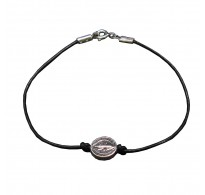 B000256 Sterling Silver Bracelet Genuine Hallmarked Solid 925 Saint Benedict With Black Leather