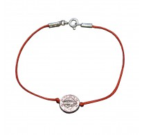 B000256R Sterling Silver Bracelet Genuine Hallmarked Solid 925 Saint Benedict With Red String