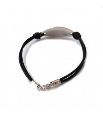 B000263 Genuine Sterling Silver Bracelet Solid Hallmarked 925 With Black Leather