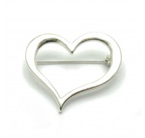 A000047 STERLING SILVER BROOCH SOLID 925 HEART EMPRESS