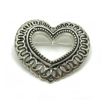 A000048 STERLING SILVER BROOCH SOLID 925 HEART EMPRESS
