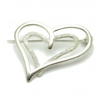 A000075 STERLING SILVER BROOCH SOLID 925 HEART EMPRESS
