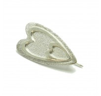 A000129  STERLING SILVER BROOCH LASER FINISHED HEART SOLID 925 EMPRESS