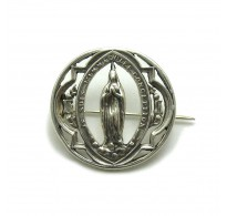 A000138 Stylish Sterling Silver Brooch Mother of God 925 Empress