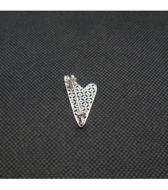 A000157 Stylish Genuine Sterling Silver Brooch Solid Stamped 925 Filigree Heart