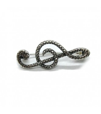 A000159 Stylish Genuine Sterling Silver Brooch Solid Stamped 925 Treble Clef