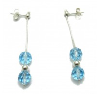 E000003A Dangling sterling silver earrings with aqua crystals solid 925 Empress