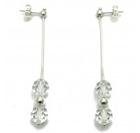 E000003C Dangling sterling silver earrings with crystals solid 925 Empress