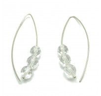 E000004C Stylish Sterling Silver Earrings Crystals 925