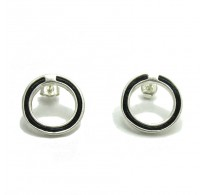 E000112  Stylish Sterling Silver Earrings Natural Leather Hoops  925
