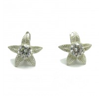 E000129  Stylish Sterling Silver Earrings With CZ 7.0mm 925
