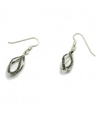 E000636 Light dangling sterling silver earrings drops solid 925 Empress