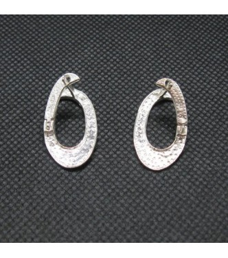 E000766 Stylish Plain Sterling Silver Earrings Genuine Solid Hallmarked 925