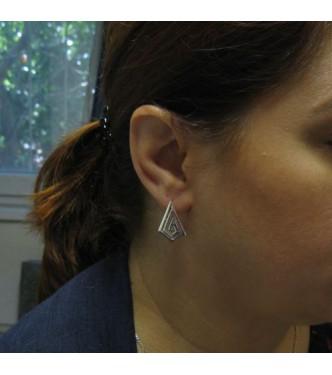 E000768 Stylish Plain Sterling Silver Earrings Meanders Genuine Solid Hallmarked 925