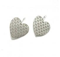 E000777 Genuine Sterling Silver Earrings Filigree Hearts Solid Hallmarked 925