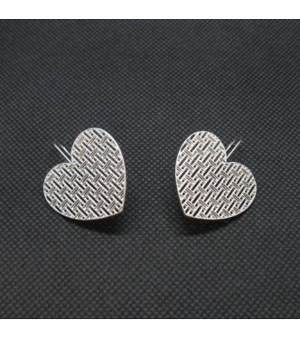 E000777 Genuine Sterling Silver Earrings Filigree Hearts Solid Hallmarked 925
